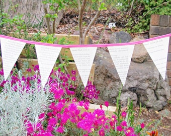 Pink Mini Bunting Boho Chic - Book Page Fuchsia Bookworm Gift - Banner Garland Wall Hanging Nursery For Women - Baby Shower Bridal Party