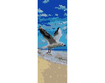 Seagull Peyote Bead Pattern, Bracelet Cuff, Bookmark, Seed Beading Pattern Miyuki Delica Size 11 Beads - PDF Instant Download