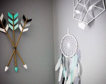 Feathered dream catcher, boys room, baby boy, boys nursery, little boys room, boys dreamcatcher, feather mobile, teepee
