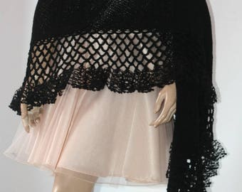 Wedding Bridal Shawl Black Scarf Bolero Shrug Lace Crochet