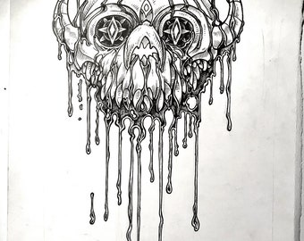 Dripping Armored Skull drawing