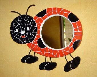 Ladybug mosaic mirror