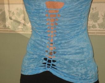 Original Designed Cut T-Shirt, Skull, Blue, Long Sleeve, Woven Ladder Design