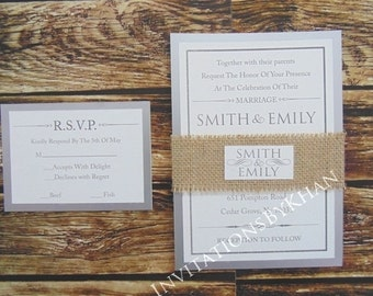 Burlap Rustic Wedding Invitations