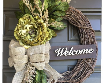 Front door Peony wreath, 14 inch wreath with accent , everyday wreath , Year round wreath , spring wreath , summer wreath , door wreath