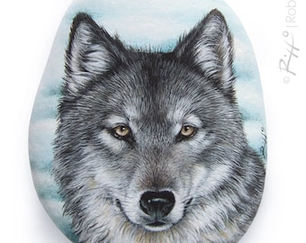 A Wild Wolf Painted On a Flat Sea Rock | Hand Painted Stone by Roberto Rizzo