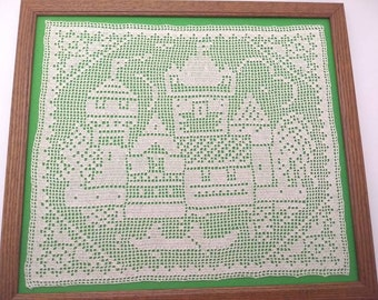 Vintage Filet crochet boating and cityscape scene