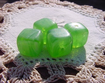 Vibrant Lime Opalescent Cubes Vintage Glass Beads