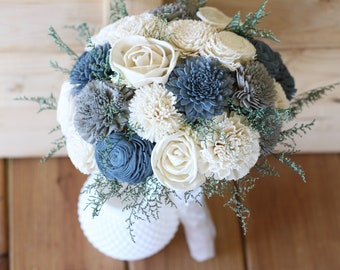steel blue gray bouquet, Sola Bouquet, wedding bouquet, bridal bouquet, bridesmaid bouquet, blue gray bouquet, sola flowers, wedding flowers