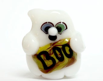 Handmade lampwork bead focal, lamowork Ghost bead, halloween beads, glass beads
