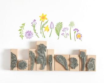 Spring Flower Rubber Stamp, Flower Stamp, Daffodil Stamp, Hyacinth Stamp, Dandelion Stamp, Wedding Stamp, Nature Stamp, Art Stamp