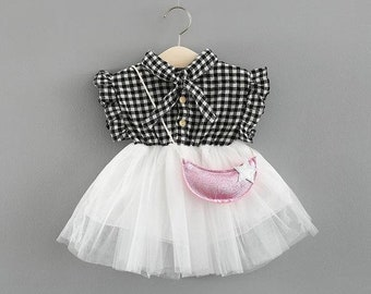 Ruffles Sleeves Half Plaided Summer Dress For Baby Girls