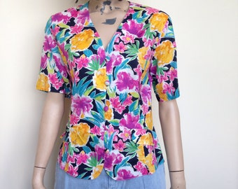 Late 80s/ early 90s bold floral print blouse - 10-12