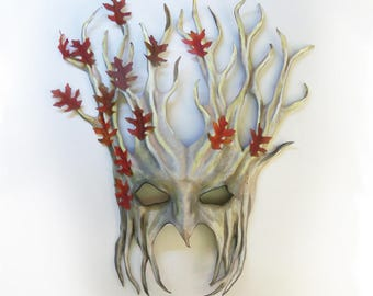 "Tree Leather Mask over 15"" tall with Fabric Leaves white grey brown with reddish leaves very light and easy to wear & nice for display too"