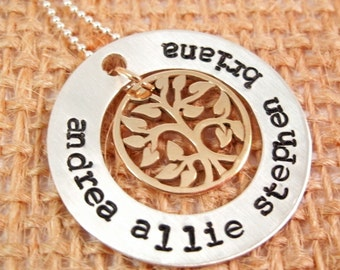 Mother's Necklace - Tree of Life Necklace - Hand stamped necklace - Custom Mom necklace - Mommy tree of life - Mother's Day Gift