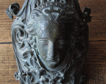 Old antique metal bronze billiards Pool Elements sculpture with head