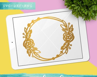 Floral Monogram Frame Svg Cutting Files / Flower Circle SVG DXF PNG Files / Svg for Cricut Silhouette / Commercial Use ok