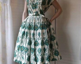 1940's white green& bluecotton sundress full circle skirt