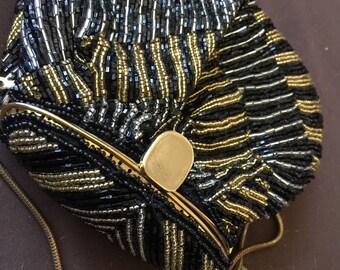 Vintage Beaded Black Gold Evening Bag Purse