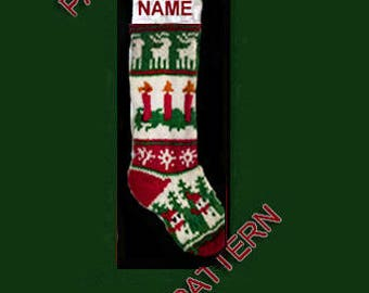 Pattern only  ---  Hand knit Christmas stocking,  Christmas candles, snowman and reindeer