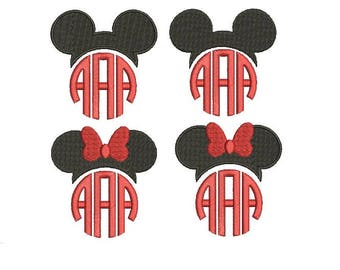 27 Sizes Mickey and Minnie Head Ears Mouse Monogram Frame Toppers Girl Bow Design Fill Embroidery Machine Instant Download EN2193F1F6