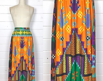 Vintage 1960s Psychedelic Maxi Skirt / Made by Nelly de Grab / Day-Glo / Abstract Print / Hippie
