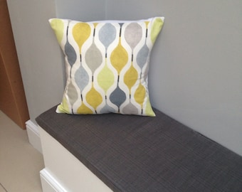"""VERVE grey yellow  cushion cover 16"""" 45 x 45"""
