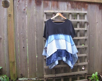 Upcycled Blue Asymmetrical Patchwork Tunic Shirt/ Funky Eco Babydoll Blouse/ Lagenlook Hi Lo Womens Tops Size M/L