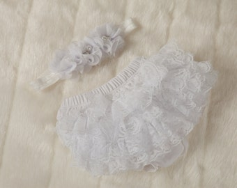 0-3ms Baby Girl Lace Bloomers Baby Diaper Cover with Matching Headband