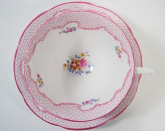 Pink Collingwoods Tea Cup and Saucer, Floral teacup and saucer, wide mouth tea cup.