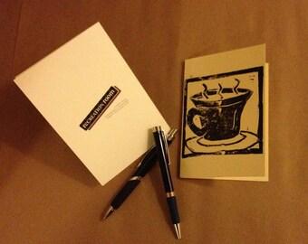 Coffee/Tea - Handmade LinoPrint Blank Cards