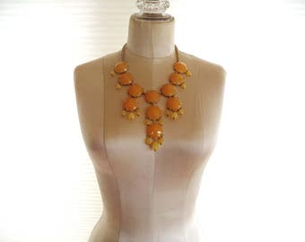 Signed Joan River's Bib Necklace Buttery Egg Yolk Yellow Bib Statement Necklace XX Classic Collection