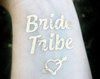 Bride Tribe Temporary Tattoo Bachelorette Party Favor Set of 11, Bachelorette Tattoo, Gold tattoo, Bridesmaid gift, Bridal Party, Hen Party