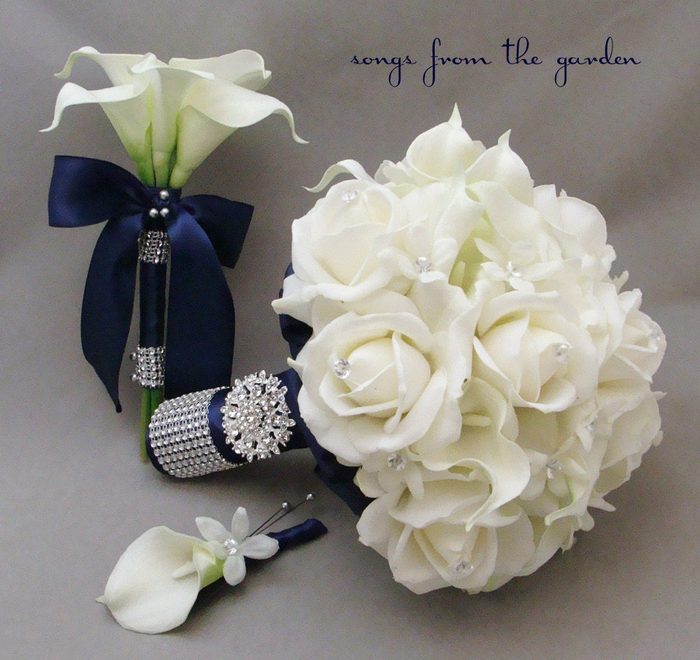 Navy White Bridal Bouquet Toss Real Touch Roses Calla