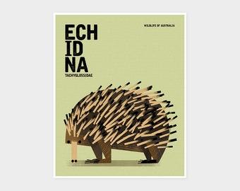 ECHIDNA, Wildlife of Australia, Nursery Animal Wall Art Print, Educational Kids Poster Print, Retro Vintage Minimalist Illustration