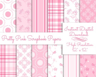 Pretty Pink Digital Scrapbook Paper Pack Printable Instant Download Background Papers Collage Sheet