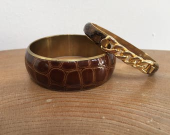 Vintage Snakeskin and Gold Plated Spring Bangle with Alligator Leather look Wide Bangle