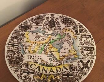 Vintage Wopd and Sons Canada Map Brown Burslem Souvenir Plate