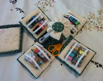 Vintage Sewing Kit - Singer Material Craft Box  - Unfolding Accessory Box ~ Green With White Accents ~ Needle and Thread