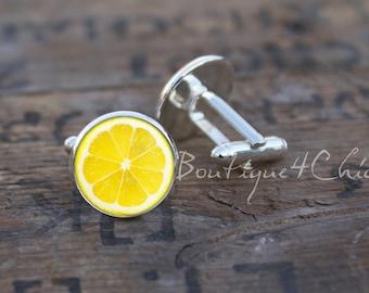 Lemon cufflinks, lemon, cuff links, citrus