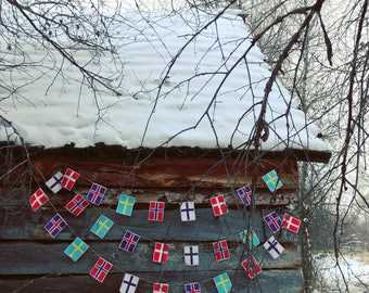 Nordic flags garland