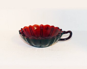 Red Cranberry Glass Round Bowl with  Handle -  1535