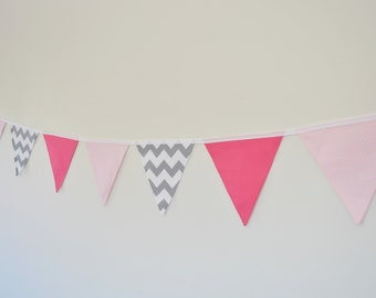 Fabric Baby Girl Bunting, Pink, Polka Dots, Grey Chevron, Baby Girl Nursery Bunting, Wall Decor Baby Shower, Birthday Party, Nursery Decor