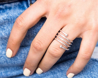 Delicate Coil Ring For Women, Open Swirl Ring, Adjustable Ring, Silver Wrap Ring, Wrap Around Ring, 3 Band Ring, Triple Ring, Layered Ring