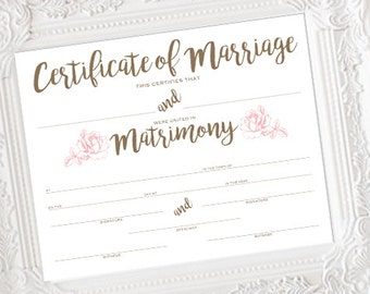 INSTANT DOWNLOAD Marriage Certificate, Wedding Certificate, Wedding Keepsake, Shower Gift, Floral Wedding Certificate