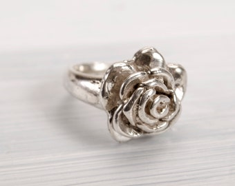 Romantic Rose Statement Ring - Size 9.5 // Sterling Silver