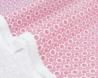 Fabric fine cotton gabardine soft flowers Pink White x 50cm