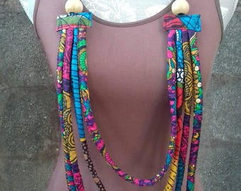 Rainbow/ Rope Necklace/ ILA Ankara Necklace/ Statement Piece/ Handmade African Jewelry/ African Necklace/ African Print Necklace