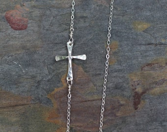 sideways cross necklace, silver cross necklace, gold sideways cross, first communion gift, bridesmaids gift