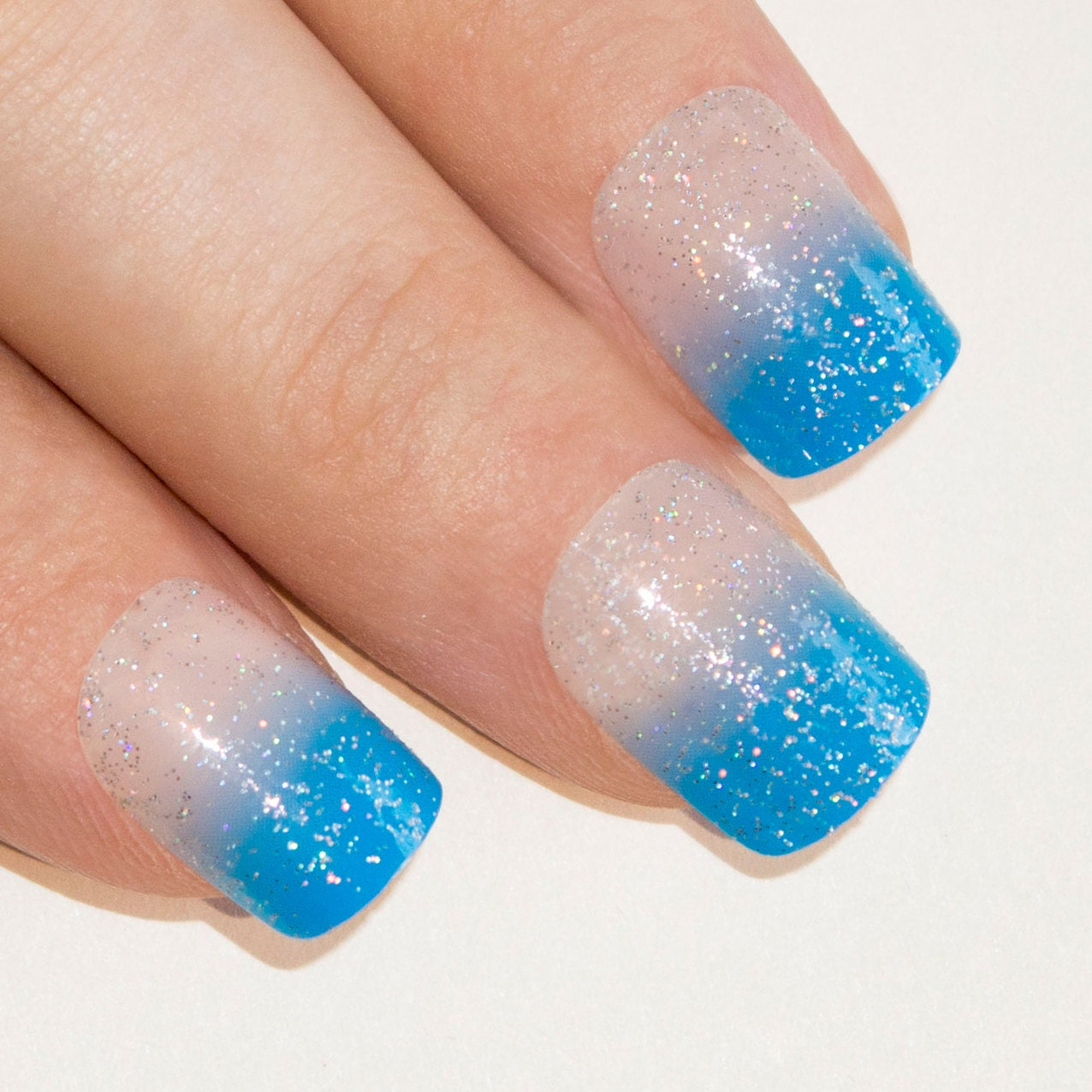 Bling Art False Nails French Manicure Blue Be My Baby 24 Full Cover ...